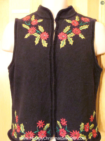 Cheap Black Poinsettia Christmas Sweater Vest