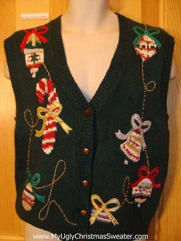Tacky Christmas Sweater Vest with Candy Cane