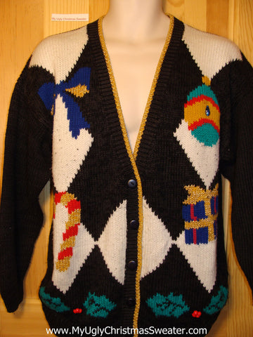 Tacky Ugly Christmas Sweater 80s Bold Pattern (f176)