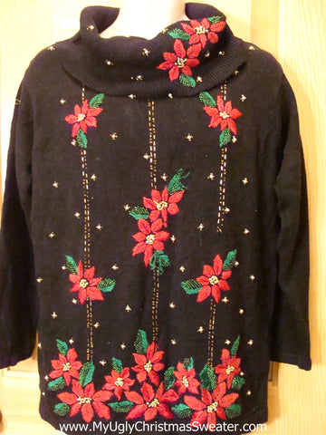 80s Poinsettias Tacky Christmas Sweater