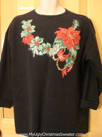 Cheap Tacky Christmas Top with Poinsettias
