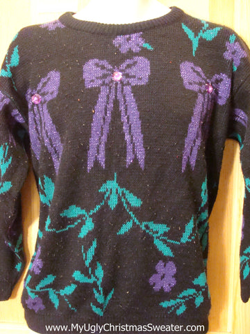 Horrible 80s Purple Black Tacky Christmas Sweater