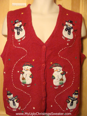 Tacky Ugly Christmas Sweater Vest 2sided with Snowmen (f177)