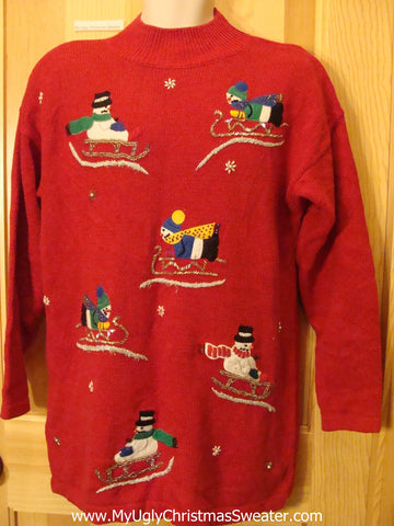 Snowmen Sledding Red Tacky Christmas Sweater