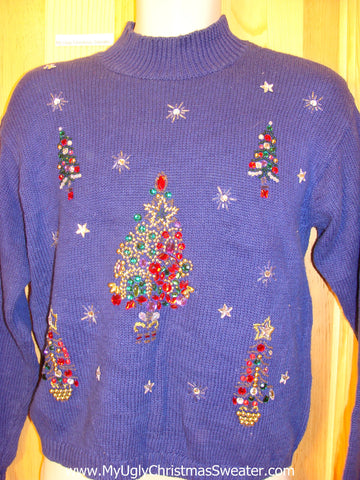80s Purple Tacky Christmas Sweater Bling