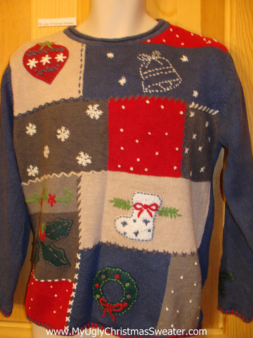 Tacky Patchwork Crafty Christmas Sweater