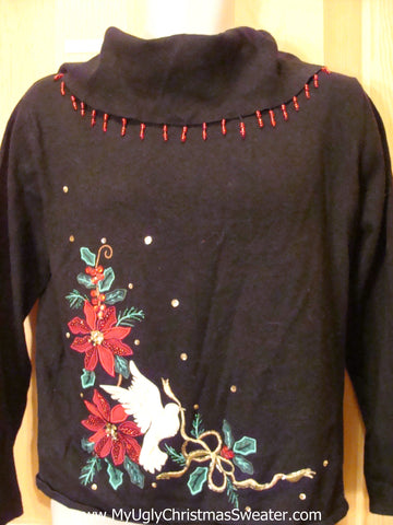 Tacky Christmas Sweater with Poinsettias and Bead Bling