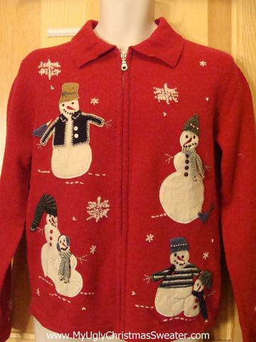 Red Tacky Christmas Sweater with 2sided Snowmen
