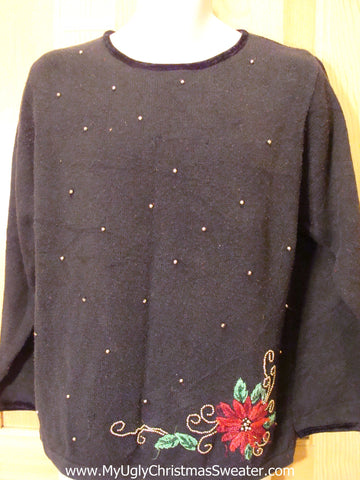 Cheap Tacky Christmas Sweater with Poinsettia