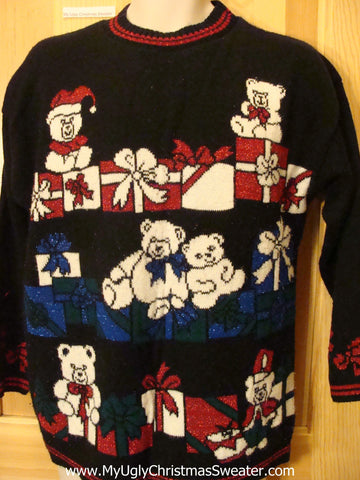 Tacky 80s Christmas Sweater with Bears