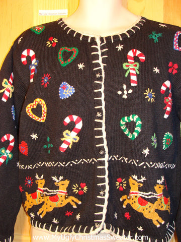 Tacky Ugly Christmas Sweater Busy and Loaded with Decorations Including Leaping Reindeer (f178)