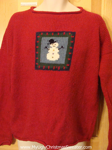 Cheap 2sided Red Snowman Tacky Christmas Sweater