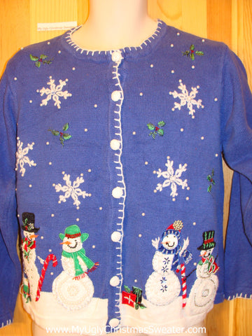 Tacky Blue ugly xmas Sweater with Snowflakes Snowman