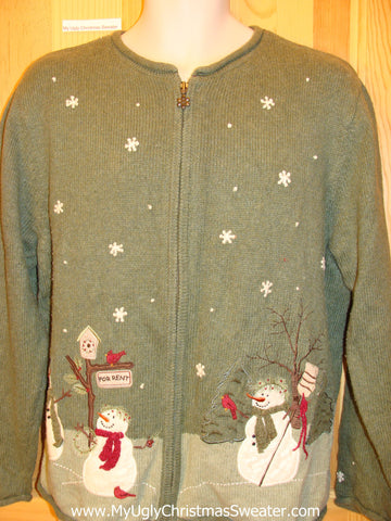 Green Snowman 2sided Tacky Christmas Sweater