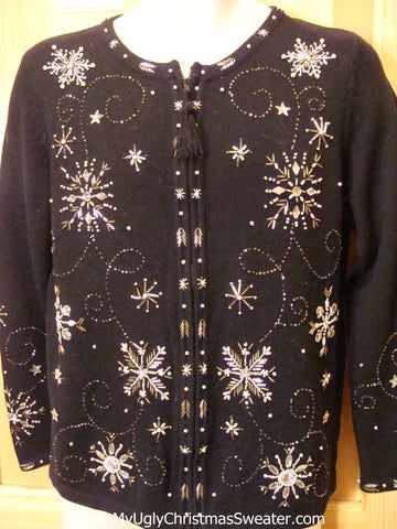 Black Tacky Christmas Sweater Snowflake Bling