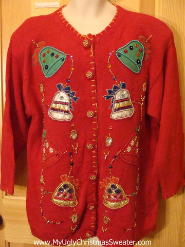 80s Bling Red Tacky Christmas Sweater
