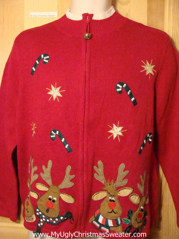 Tacky Ugly Christmas Sweater with Candy Canes and Perplexed Reindeer (f179)