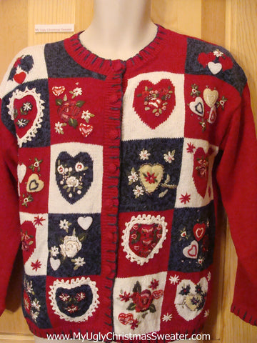 Ugly Red Sweater  for Valentine or Christmas Hearts