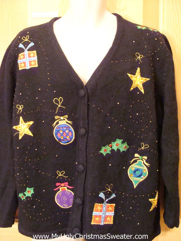 Funny Black Ugly Sweater with Ornaments, Stars, and Gifts