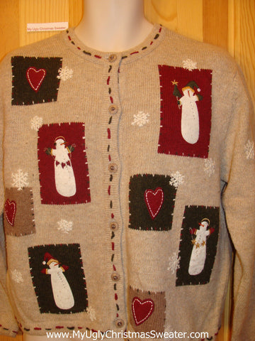 Two Sided Hearts and Snowman Funny Ugly Sweater