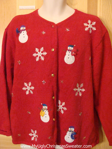 Red Funny Ugly Sweater with Snowmen and Snowflakes