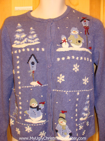 Two Sided Blue Snowman Winter Funny Ugly Sweater