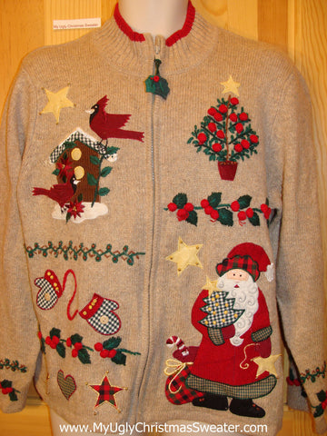 Plaid Accents Santa, Birds, Mittens Funny Ugly Sweater