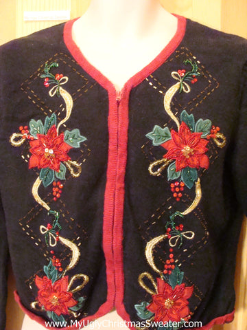 Black Funny Ugly Sweater with Red Poinsettias