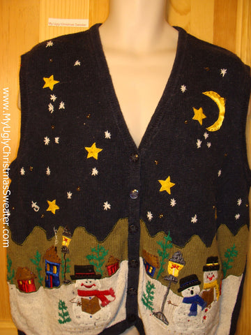 Tacky Ugly Christmas Sweater Vest with Snowmen in a Winter Wonderland (f180)