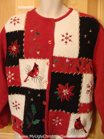 Bling Funny Ugly Sweater with Red Poinsettias and Cardinals