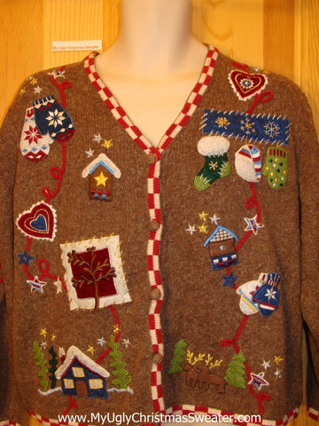 Ugly Brown Sweater with Mittens and Hearts