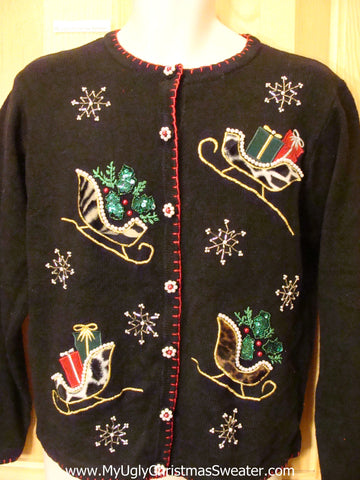 2sided Funny Ugly Sweater with Animal Print Sleighs