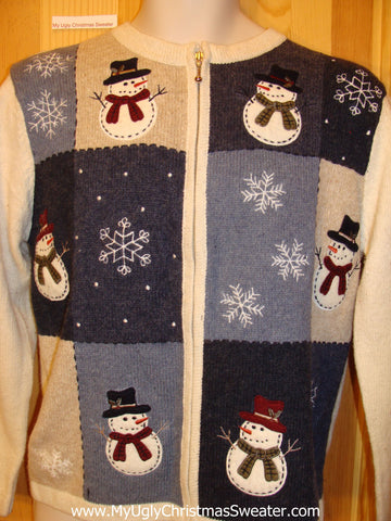 Funny Ugly Sweater with Blocks of Snowflakes and Snowmen