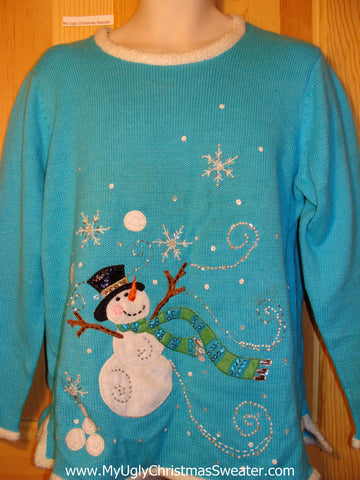 Tacky Ugly Christmas Sweater Bright Blue with Bling Delighted Snowman (f181)