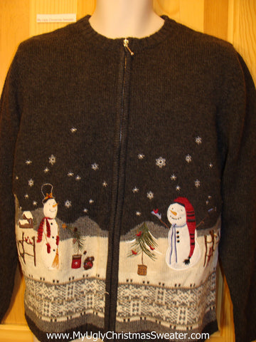 Funny Ugly Sweater Winter Wonderland with Snowmen