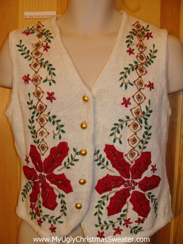 Funny Ugly Sweater Vest with Huge Red Poinsettias