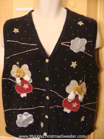 Angel Themed Funny Ugly Sweater Vest with Stars