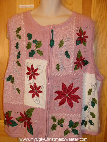 Pink Funny Ugly Sweater Vest with Dangling Ivy Zip Pull