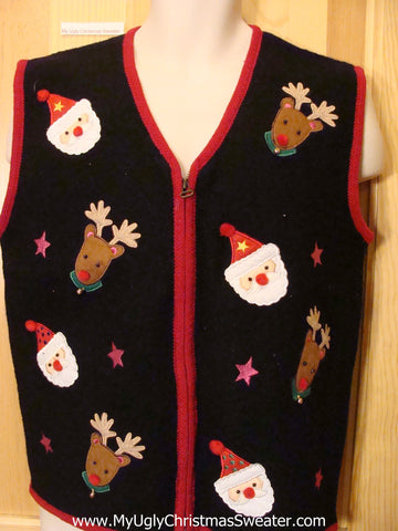 Black Funny Ugly Sweater Vest with Santa and Reindeer