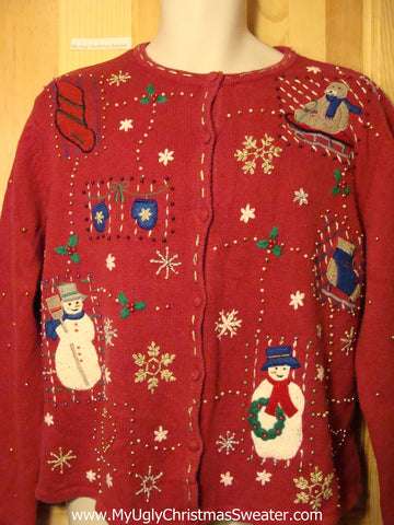 Tacky Red Ugly Christmas Sweater with Snowmen (f182)