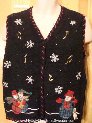 Black Funny Ugly Sweater Vest with Plaid Snowmen
