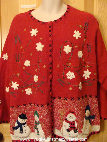 Red Snowman Themed Funny Ugly Sweater Cardigan