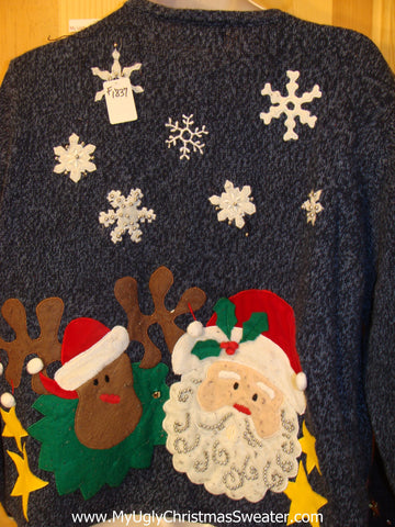 Two Sided Santa and Reindeeer Funny Ugly Sweater