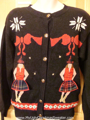 80s Plaid Skirt Girls Funny Ugly Sweater Cardigan