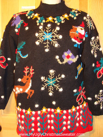 Tacky Ugly Christmas Sweater 'Holy Grail of Ugly' 80s Masterpiece with Reindeer and Snowflakes (f183)