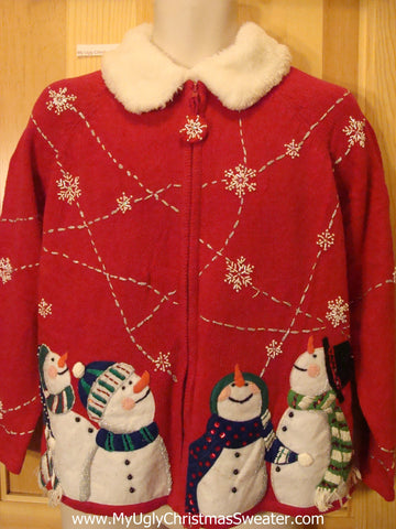 Red Funny Ugly Sweater with Fluffy Collar and Bling