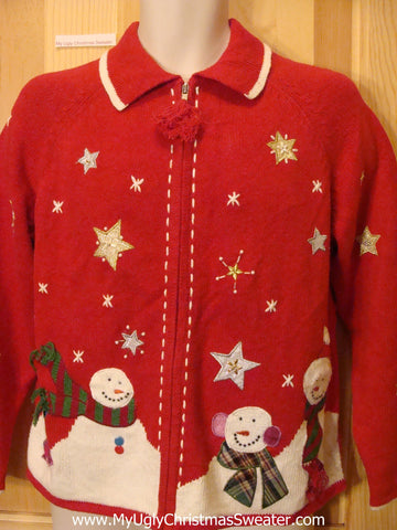 Bald Snowmen Red Funny Ugly Sweater