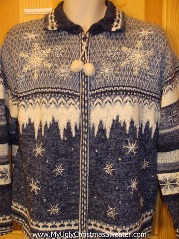 Two Sided Blue Nordic Bling Funny Ugly Sweater