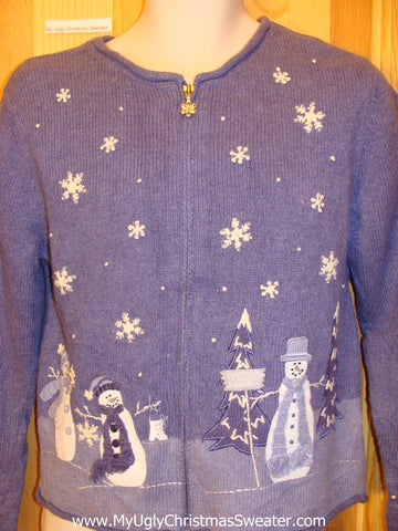 Blue and White Snowman Funny Ugly Sweater with Zip
