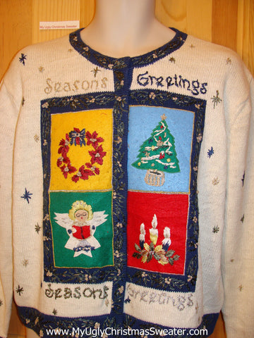 Seasons Greetings Colorful Funny Ugly Sweater